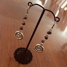 Antiqued Silver Spiral Earrings with Garnet Stone Chips (Australian Made)
