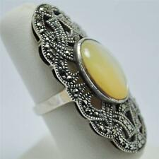 T20F03 Victorian Style Vintage Mother of Pearl Sterling Marcasite Ring Sz 5.75