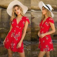 Women Mini Dress Summer Beach Evening Party Boho Floral Short Sundress W
