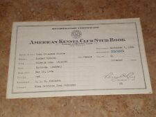 American Kennel Club Registration Certificate 1934 Moko Cocker Spaniel Vintage