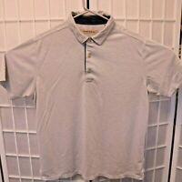 Tommy Bahama Polo Shirt Men's Size L Large Light Gray Short Sleeve
