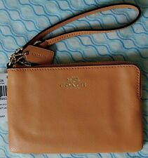 Authentic Coach Orange Peel Leather Corner Zip Wallet Wrislet