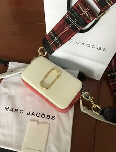 BNWT Marc Jacobs Porcelain White Snapshot Checkerboard Strap Leather Camera Bag