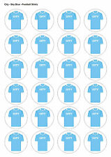 24X PRECUT MAN CITY BIRTHDAY FOOTBALL EDIBLE WAFER CUPCAKE CAKE TOPPERS 1331