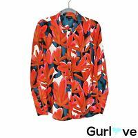Who What Wear Size XL Women's Top Orange Floral Long Sleeve Button Blouse