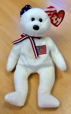 Ty Beanie Babies America Bear In White - Retired Mint With Tags