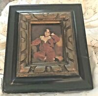 VINTAGE RED BOY MASTER LAMBTON PRINT DARK WOOD & GOLD DISTRESSED FRAME