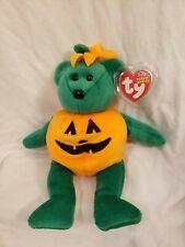 "Ty Beanie Baby 2003 9.5"" TRICKY the Halloween Bear Jack-o-Lantern Costume  MWMT"