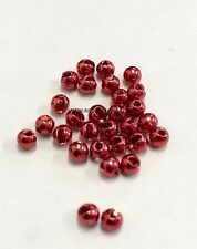 "TUNGSTEN SLOTTED FLY TYING BEADS ANODIZED RED 2.0 MM 35/64 "" 100 COUNT"
