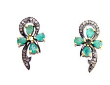 & Emerald Victorian Antique Look Earrings 925 Silver Rose Cut Diamond Natural