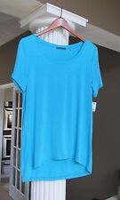 TAHARI Aqua Whitney  Short Sleeve  High-Low Hem Top Shirt Size L NWT $68