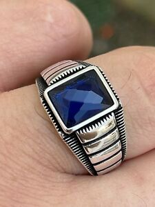 Mens Plain Real 925 Sterling Silver Blue Sapphire Stone Ring Size 7 8 9 10 11 12