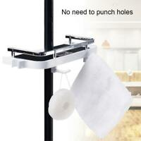 White Bathroom Pole Shelf Shower Storage Caddy Rack Organiser Tray Holder
