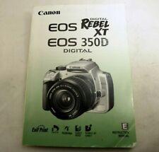 Canon Digital Rebel XT 350D Cámara Manual Instrucciones Guía Inglés