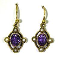 Victorian Amethyst & Pearl 15ct Yellow Gold Drop Earrings
