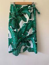 Portofino The Label Wrap Skirt Green White Floral Monstera Size Small