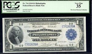 Fr. 714 Green Eagle - $1 1918 Philadelphia Federal Reserve Bank Note - PCGS 35