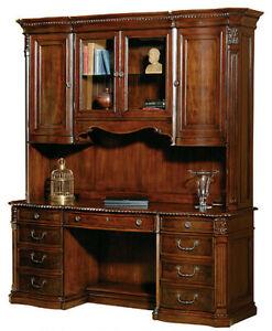 Old World Serpentine Office Credenza & Hutch