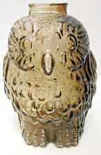 "Vintage Glass Bank ""Wise Old Owl"" Smoke Colored Figural Coin Piggy Bank"