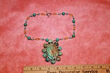 Vintage Artisan Carved Turquoise Flower Leaf & Topical Bird 925 Brooch Pendant