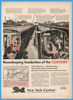 1944 New York Central Railroad Train Cleaning Route Map 20th Century Limited Ad