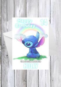 LILO AND STITCH Birthday Card, STITCH Personalised Children's Greeting Card