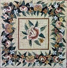 "24""x 24"" Handmade Marble Mosaic Flower  Tile Stone Wall Mural Art Floor Decor"