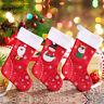 Christmas Stocking Santa Claus Sock Candy Bag Plaid Burlap Holder Tree Decor New
