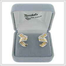Ladies 14K Two-Tone Gold Fashion Pierced Earrings