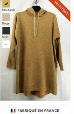robe pull tunique a capuche en moutarde femme du 38 au 42