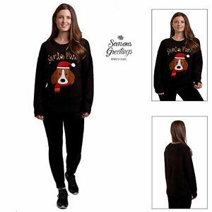 Womens Santa Paws Christmas Jumper Novelty 3D Sequin Dog Xmas Festive Sweater