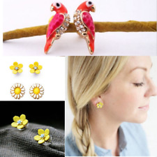 Fashion Women Lady Cute Jewelry Yellow Daisy Flower Peony Magpie Stud Earrings
