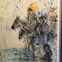 "Michael Anthony Nisperos Original 1991 Acrylic ""warriors"" Native American"