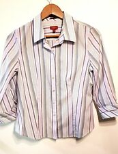 NWT Talbots White Wrinkle Resistant 12 Long Sleeve Blouse Stretch Cotton