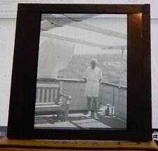 Antique Glass slide Merchant Navy Officer Standing on deck Gibraltar 1930's