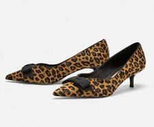 56dcc308a9e1 Zara RARE Leather Leopard Print Kitten Mid HEELS Bow UK 4 eur 37 us6