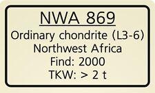 Meteorite label Northwest Africa 869 - NWA 869