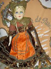 Labeled France Bretonne antique Art Deco silk face Boudoir bed doll, bisque arms