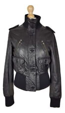 Q275 Next Ladies Black Soft Leather Biker Style Jacket, UK 12 (Small Fit)