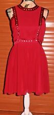 Temt Party Dress, Red, Metallic-Look Studs, Pleat Detailing, Lined, Size 14