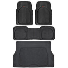 Black Deep Dish All Weather HD Rubber Mats Package - 4pc Floor Liners Cargo Mat