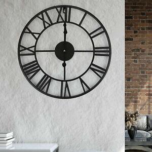 78CM Large Wall Clock Roman Numeral Wall Clock Modern Round Black Metal Clock