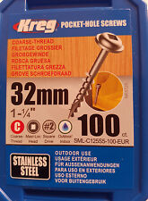 KREG Edelstahl-Taschenlochschrauben Terrassenbau V2A 100er Pack Nr. 8 x 31,75 mm