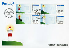 Faroes Faroe Islands 2018 FDC Lighthouses Franking Labels 4v Set Cover Stamps