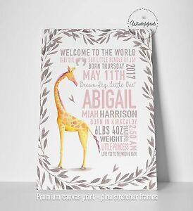 Personalised New Baby Canvas Print, Baby Gift, Newborn Giraffe Christening Gift