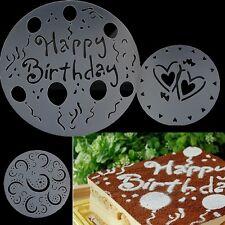 4Pcs Round Plastic Design Cakes Stencil Flour Flower Heart Decorating Mold