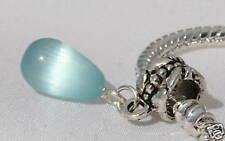 Tibetan Silver Bracelet Turquoise Blue Cats Eye Crystal Charm Reiki Blessed