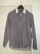 mens ted baker casual b/w striped long sleeve shirt size 3 medium made in turkey