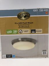 Hampton Bay 15 in. Brushed Nickel LED FlushMount Frosted White Glass