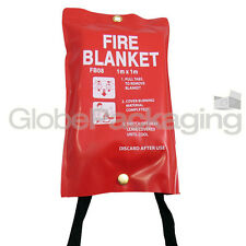 LARGE FAST RELEASE FIRE BLANKET 1M x 1M IN SOFT RED CASE WORKPLACE KITCHEN HOME